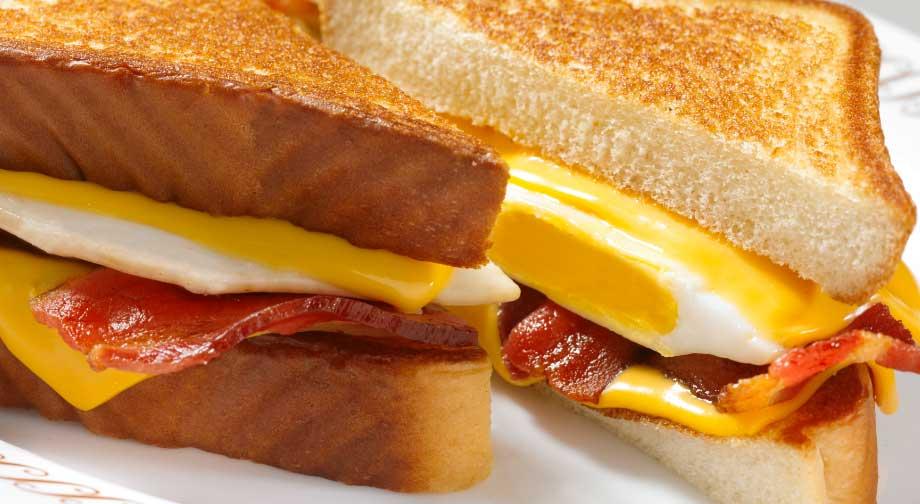 Breakfast sandwich menu items