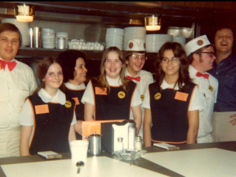 vintage photo of Waffle House employees