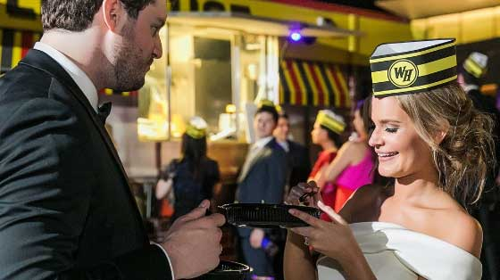 Bride and Groom in front of Waffle House food truck