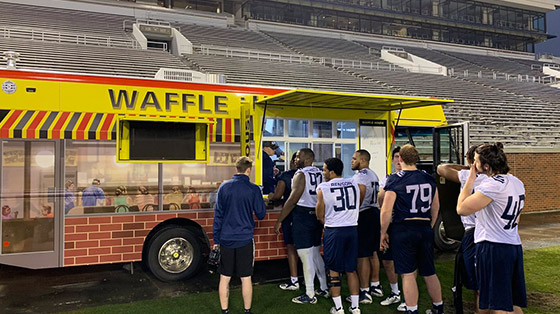 Waffle House food truck at baseball stadium